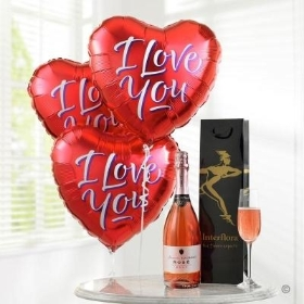 Sparkling Rose and I Love You Balloons