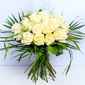 Two Dozen White Rose Hand tied