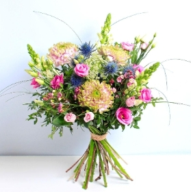 Perfectly Pretty Pink & Blue Hand tied