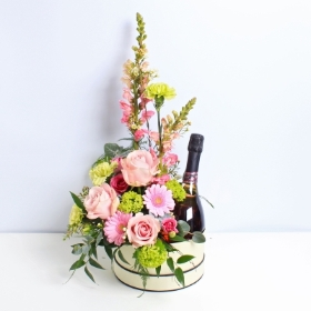 Magnificent Mix Hatbox with Sparkling Rose